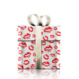 Gift and kiss Stock Image