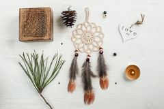 Gift kraft bag and beige dream catcher Stock Photography