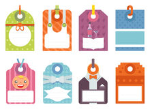 Gift labels set flat design elements ribbon bow dot vector illustration Stock Images