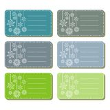 Gift labels with snowflakes cold colors Royalty Free Stock Image