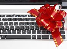 Gift laptop Royalty Free Stock Photo