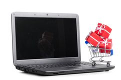 Gift on a laptop Stock Photo