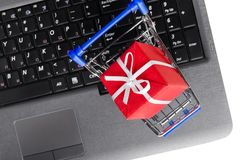 Gift on a laptop keyboard Stock Photography