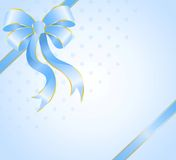 Gift with a large blue bow Stock Photo