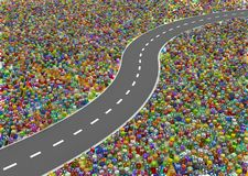 Gift Road. Gift large group 3d illustration, long road empty, horizontal Royalty Free Stock Photos