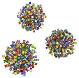 Gifts Selection Spheres. Gift large group 3d illustration spheres, horizontal, isolated, over white Stock Image