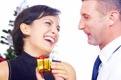 Gift and laughing Royalty Free Stock Photography