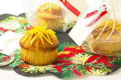 Homemade lemon muffins. Gift lemon muffins with a card on a napkin stock photography
