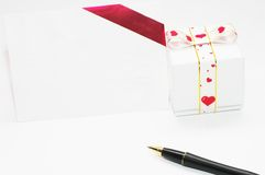 Gift and letter Stock Photos