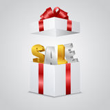Gift with the letters -sale- inside Stock Image