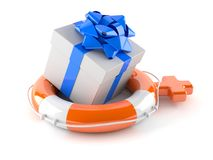 Gift with life buoy. Isolated on white background Stock Photos