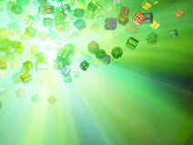 Gift Lights, Green. Illuminated flying wrapped gift boxes 3d, horizontal background Stock Image