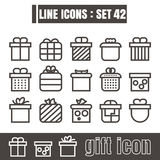 Gift line icon Modern design Symbol sign design vector black on. Gift set line icon Modern design Symbol sign design vector black on white background Stock Photography