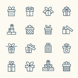 Gift line icons Stock Photos