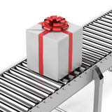 Gift on the line. Isolated on a white background. 3d render Royalty Free Stock Images
