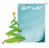 Gift list with christmas tree Stock Photo