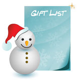 Gift list with snowman illustration Stock Photography