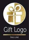 Gift logo. In bright gold Royalty Free Stock Image