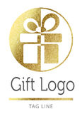 Gift logo. In bright gold Royalty Free Stock Images