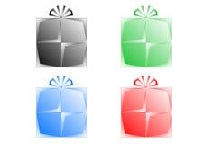 Gift logo set. Gift / Present logo set black, red, blue, green Stock Images