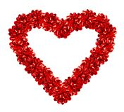 The Gift Of Love. Heart Made Of Red Gift Bows (image contains clipping path for easy background removing Stock Image