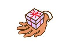 Gift Love Hand Shopping Surprise Symbol Design Illustration. Gift Love Hand Shopping Surprise Symbol Design Logo Vector Illustration stock illustration