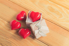Gift of love. hearty gift. A gift box with a red heart inside. Royalty Free Stock Images
