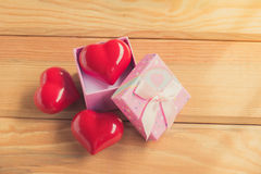 Gift of love. hearty gift. A gift box with a red heart inside. Royalty Free Stock Photography