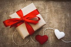 Gift made with hands. Background for Valentine`s day Royalty Free Stock Image