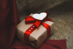 Gift made with hands. Background for Valentine`s day Stock Images