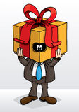 Gift Man. Fun cartoon with a man and a gift box Stock Images