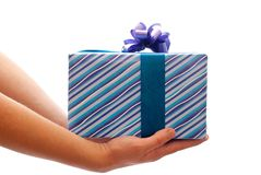 Gift in man's hands Royalty Free Stock Image