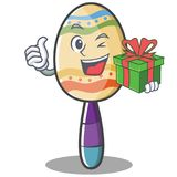 With gift maracas character cartoon style Stock Photo