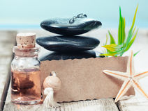 Gift of a marine spa treatment. Beautiful serrated edged blank label leaning on a stack of black hot massage stones near the sea offering a gift of a marine spa Royalty Free Stock Photography