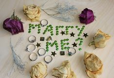 Gift marry me roses. Year beautiful sparkles stars, jewel emerald ring with emerald ring green design, gift vintage christmas white celebration, decoration Royalty Free Stock Photo