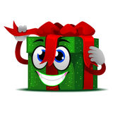 Gift Mascot tie its Ribbon Stock Image