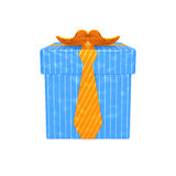 Gift for men. Blue striped gift box with orange ribbon in the form of tie and mustache as symbol of giving of present to man, father, grandfather, gentleman Stock Image
