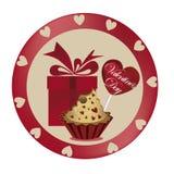 Gift met dessert voor de dag van de valentijnskaart Vector Illustratie