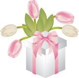 Gift met tulis Royalty-vrije Stock Afbeeldingen