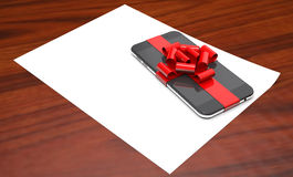 Gift mobile phone on paper 3d illustration. Gift mobile phone on paper on wooden background 3d illustration Royalty Free Stock Photo