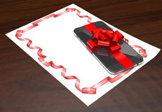 Gift mobile phone on paper with ribbon 3d illustration. Stock Images