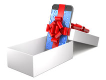 Gift mobile phone with ribbon in box 3d illustration. Stock Images