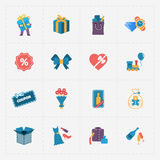 Gift modern colorful shop icons on white Stock Image