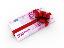 Gift of money. Stack of euro bills with red ribbon isolated on white background. High quality 3d render Stock Photo