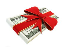 Gift of Money. On a white background Royalty Free Stock Image