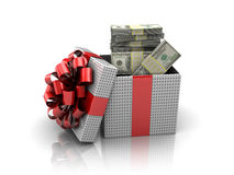 Gift with money Royalty Free Stock Images