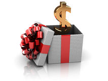 Gift with money. 3d illustration of gift box with golden dollar sign inside Stock Images