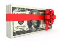 Gift of Money. On a white background royalty free illustration