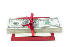 Gift money with bow Royalty Free Stock Image