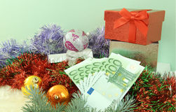 Gift with money Stock Photography
